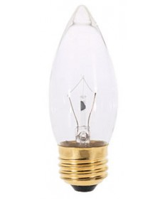 Satco S3384 Satco 40B11 40 Watt 220 Volt B11 Medium Base Clear Torpedo Tip Decorative Light Bulb