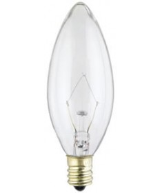 Satco S3386 Satco 25B10 25 Watt 220 Volt B10 E12 Candelabra Base Clear Torpedo Tip Decorative Light Bulb