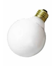 Satco A3640 Satco 25G25/W 130V 25 Watt 130 Volt G25 Medium Base White Decorative Globe Allura Incandescent Light Bulb