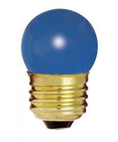 Satco S4508 Satco 7-1/2S11/B 7.5 Watt 120 Volt S11 Medium Base Ceramic Blue Incandescent Carded Light Bulb