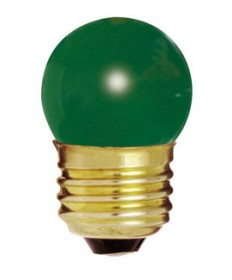 Satco S3609 Satco 7-1/2S11/G 7.5 Watt 120 Volt S11 Medium Base Ceramic Green Incandescent Light Bulb