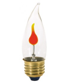 Satco S3657 Satco 3CA10/FLK 3 Watt 120 Volt CA10 Medium Base Clear Flicker Incandescent Light Bulb