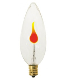 Satco S3756 Satco 3CA8/FLK 3 Watt 120 Volt CA8 Candelabra Base Clear Flicker Incandescent Carded Light Bulb