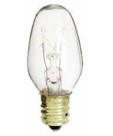 Satco S3791 Satco 7C7 7 Watt 120 Volt C7 Clear Candelabra Base Incandescent Light Bulb