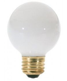 Satco S3827 Satco 25G18.5/W 25 Watt 120 Volt G18.5 Medium Base White Globe Decorative Light Bulb