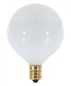 Satco S3824 Satco 15G16.5/W 15 Watt 120 Volt G16.5 Candelabra Base Satin White Globe Decorative Light Bulb