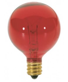 Satco S3833 Satco 10G12.5/R 10 Watt 120 Volt G12.5 Candelabra Base Red Globe Light Bulb