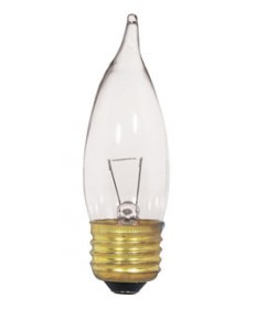 Satco S3869 Satco 25CA10/CL/12V 25 Watt 12 Volt CA10 Medium Base Clear Decorative Turn Tip Light Bulb