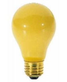 Satco S3859 Satco 40A/Y 40 Watt 130 Volt A19 Medium Base Yellow Bug Light Bulb