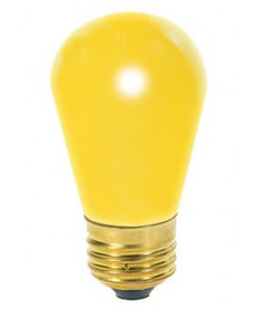 Satco S4560 Satco 11S14/Y 11 Watt 130 Volt S14 Medium Base Ceramic Yellow Incandescent Carded Light Bulb