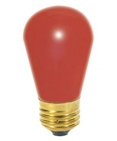 Satco 11S14/R 11 Watt 130 Volt S14 Medium Base Ceramic Red Incandescent Carded Light Bulb
