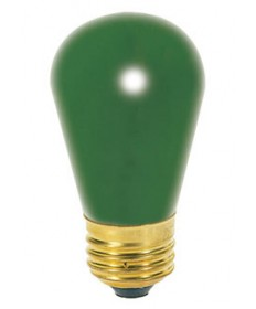 Satco S4562 Satco 11S14/G 11 Watt 130 Volt S14 Medium Base Ceramic Green Incandescent Carded Light Bulb