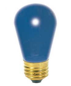 Satco S4563 Satco 11S14/B 11 Watt 130 Volt S14 Medium Base Ceramic Blue Incandescent Carded Light Bulb