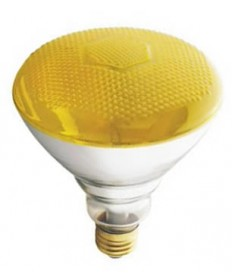 Satco S5004 Satco 100BR38/Y 230V 100 Watt 230 Volt BR38 Medium Base Yellow Weatherproof Reflector Flood