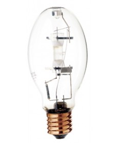 Satco S4272 Satco MS175/HOR 175 Watt ED28 EP39 Mogul Base 4000K Clear Standard Start Metal Halide Light Bulb