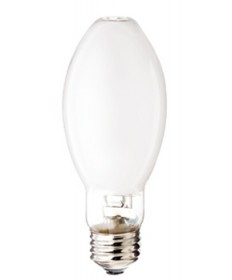 Satco S4861 Satco MH150/C/U/MED/PS 150 Watt ED17 Medium Base Coated Pulse Start Metal Halide Light Bulb