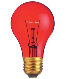 Satco S6080 Satco Light Bulbs 25A/TR - 25 Watt - 130 Volt - A19 - Transparent Red - Incandescent Light Bulb