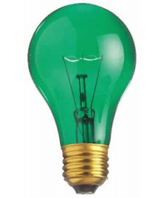 Satco S6081 Satco Light Bulbs 25A/TG - 25 Watt - 130 Volt - A19 -Transparent Green - Incandescent Light Bulb