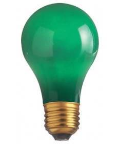 Satco S4982 Satco 40A/G 40 Watt 130 Volt A19 Medium Base Ceramic Green Incandescent Light Bulb