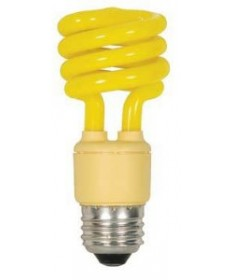 Satco S5511 Satco 13 Watt 120 Volt T2 Ultra Mini Spiral E26 Medium Base Bug Yellow 10,000 Hour Compact Fluorescent Light Bulb (CFL)