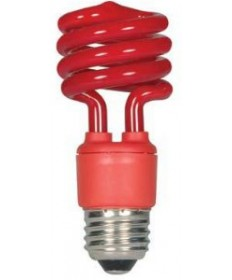 Satco S5512 Satco 13 Watt 120 Volt T2 Ultra Mini Spiral E26 Medium Base Red 10,000 Hour Party Compact Fluorescent Light Bulb (CFL)