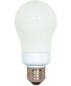 Satco S5564 Satco 7 Watt 120 Volt A19 E26 Medium Base Energy Star Certified 2700K 12,000 Hour Eco-Friendly A-Type Compact Fluorescent Light Bulb (CFL)