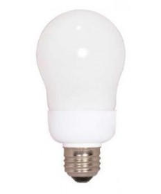 Satco S7286 Satco 9 Watt 120 Volt A19 E26 Medium Base 5000K 10,000 Hour Eco-Friendly A-Type Compact Fluorescent Light Bulb (CFL)