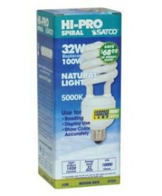Satco S7333 Satco 32 Watt 120 Volt T4 Spiral E26 Medium Base Professional Series Hi-Pro Eco-Friendly 5000K 10,000 Hour Compact Fluorescent Lamp (CFL)