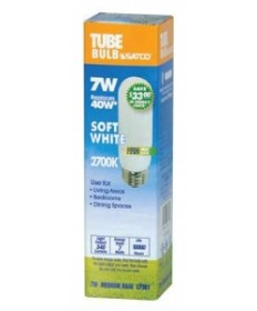 Satco S7381 Satco 7 Watt T-10 E26 Medium Base 2700K 10,000 Hour Eco Friendly Compact Fluorescent Light Bulb (CFL)