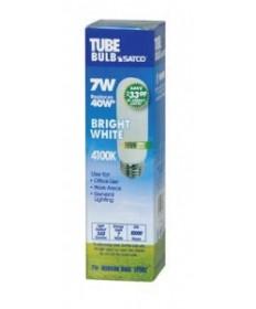 Satco S7382 Satco 7 Watt T-10 E26 Medium Base 4100K 10,000 Hour Eco Friendly Compact Fluorescent Light Bulb (CFL)
