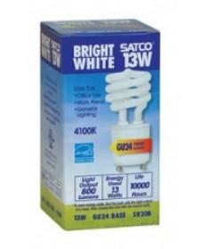 Satco S8208 Satco 13 Watt T-2 GU24 Base 4100K 10,000 Hour MiniSpiral Compact Fluorescent Light Bulb (CFL)