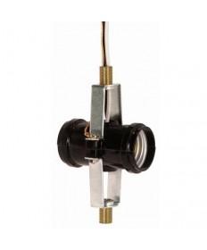 "Satco 80/1380 2 Light Phenolic Socket Medium Base Light Socket 12"" Leads w/Ground"