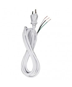Satco 90/2414 Heavy Duty Cord Set 8FT White 3 Prong Molded Plug
