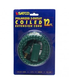Satco 93/169 Satco 93-169 Green 12FT Coiled (Extended) Extension Cord