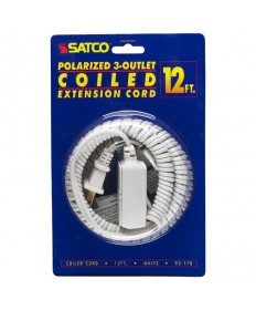 Satco 93/170 Satco 93-170 White 12FT Coiled (Extended) Extension Cord