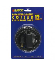 Satco 93/173 Satco 93-173 Black 12FT Coiled (Extended) Extension Cord