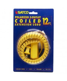 Satco 93/175 Satco 93-175 Yellow 12FT Coiled (Extended) Extension Cord