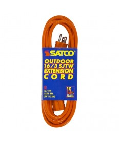 Satco 93/5035 Satco 15 Feet #16/3 GA. SJWT-3 Orange Outdoor Ext.