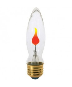 Satco S3660 Satco 3CA9/FLK 3 Watt 120 Volt CA9 Medium Base Clear Flicker Incandescent Light Bulb