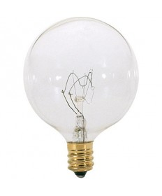 Satco S3821 Satco 15G16.5 15 Watt 120 Volt G16.5 Candelabra Base Clear Globe Decorative Light Bulb