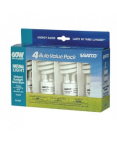 Satco S6237 13T2/50 Satco 13-Watt Mini Spiral 5000K Natural light 4 Bulb Value Pack