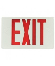 Exitronix VEX-U-BP-WB-WH - LED Exit Sign - 6 Inch Red Letter - 120V / 277V - Battery Backup - White Thermoplastic - Exit Sign
