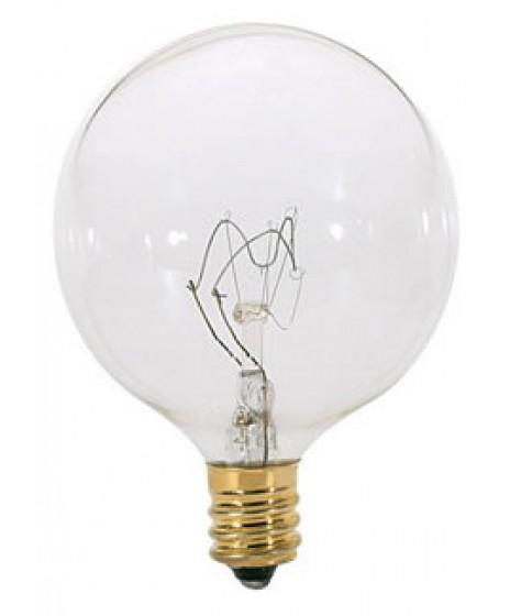 Satco S3246 120-Volt 60-Watt G16.5 Candelabra Base Light Bulb Silver Crown Satco Products